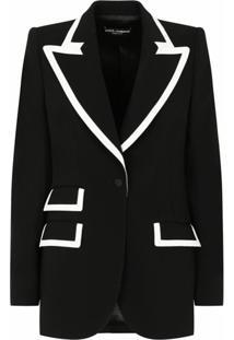 Dolce & Gabbana Blazer De Lã Mista Com Listras Contrastantes - Preto
