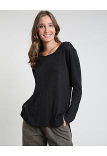 Suéter Feminino Longo Em Tricô Com Lurex Decote Redondo Preto
