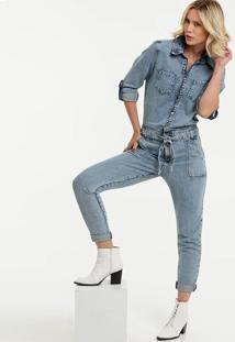 Macacão Feminino Jeans Manga Longa Marisa