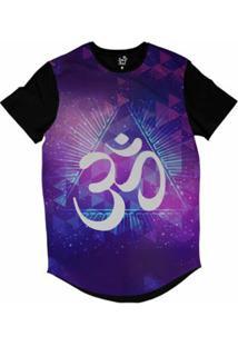 Camiseta Longline Long Beach Ohm Triângulos Sublimada Masculina - Masculino-Roxo