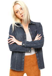 Camisa Jeans Manga Longa Colcci Botões Azul