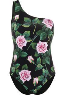 Dolce & Gabbana Maiô Ombro Único Floral - Preto