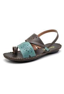 Sandalia Tiras Em Couro Percurso Comfort Com Costura Artesanal