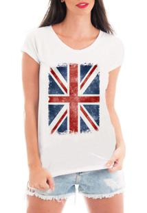 Camiseta Criativa Urbana Bandeira Londres Branca