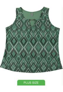 Blusa Sem Manga Estampada Verde