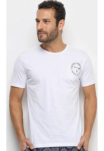 Camiseta Aleatory Selo Masculina - Masculino-Branco
