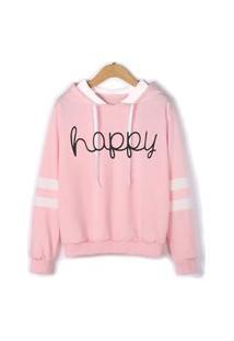 Blusa Moletom Njmix Com Listras Happy Blusa Frio Casaco S/ Bolso