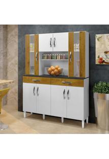 Armário De Cozinha 8 Portas 2 Gavetas Arte Móveis Branco/Ipê