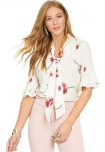 c999b21548 ... Blusa Floral Com Gola Laço Principessa Carmen Off White