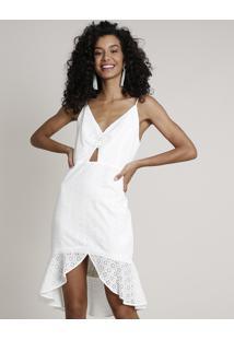Vestido Feminino Em Laise Curto Mullet Com Babado Alça Fina Off White