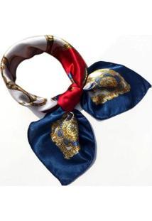 Lenço Artestore De Seda Luxo Tons - Feminino-Azul