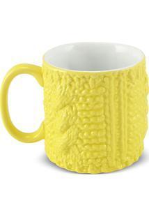 Caneca Cilíndrica Estações-Inverno 300Ml -Mondoceram Gourmet - Amarelo