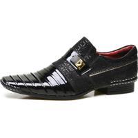 182a2a504 Sapato Social Calvest Em Couro Verniz Com Textura Preto