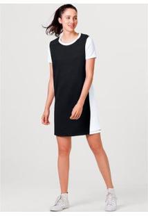 Vestido Hering Curto Em Moletom De Algodão Feminino - Feminino-Preto