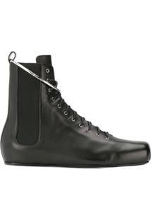 Jil Sander Lace-Up Ankle Boots - Preto