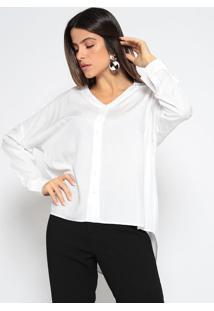 Camisa Alongada Com Recortes- Brancaenna