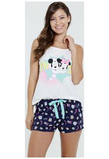 Pijama Feminino Short Doll Estampa Minnie Mickey Disney