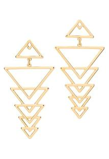 Brinco Triângulos Vazados Rommanel - Feminino-Dourado