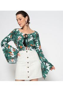 Blusa Cropped Floral Com Elã¡Sticos - Verde & Laranjagatabakana