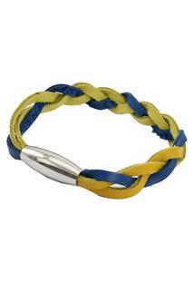 Pulseira Tudo Jóias Com Fecho De Aço Inox 316L Azul E Amarelo