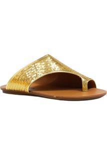 b9d599c05 ... Rasteira Zariff Shoes Com Paetê - Feminino-Dourado