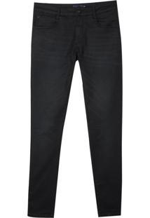 Calca Denim Malha Blue Black Bordados (Jeans Black Escuro, 48)