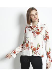 Camisa Floral & Acetinada - Off White & Vermelha - Linho Fino