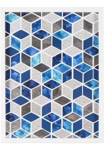 Quadro Decorativo Geométrico- Cinza & Azul- 40X30X3Cart Frame