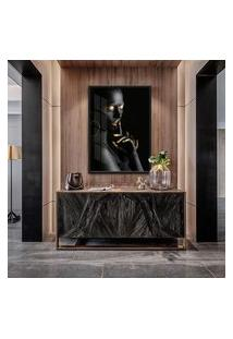 Quadro Nanda 90X60Cm Mulheres Negras Maquiagem Dourada Moldura Vidro
