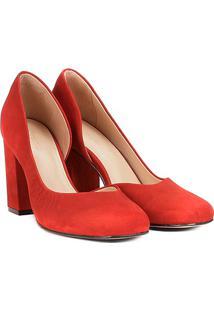 Scarpin Couro Shoestock Salto Alto - Feminino-Laranja Escuro
