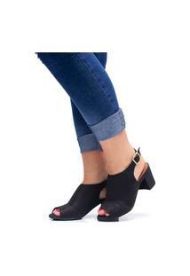 Sandália Salto Grosso Bloco Mr Try Shoes Casual Preto