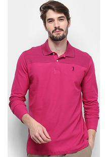 Camisa Polo Aleatory Fio Tinto Manga Longa Masculina - Masculino-Vinho