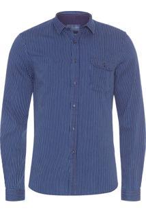 Camisa Masculina Índigo Stripes - Azul