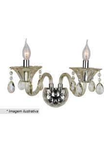 Arandela Maria Thereza- Inox & Cristal- 17X18X18Cm
