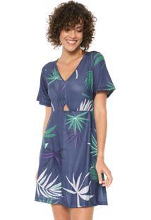 Vestido Mercatto Curto Folhagem Azul-Marinho