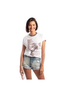 Camiseta Feminina Mirat Rosto De Flores Branco