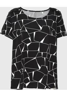 Blusa Cativa Plus Geométrica Preta - Kanui