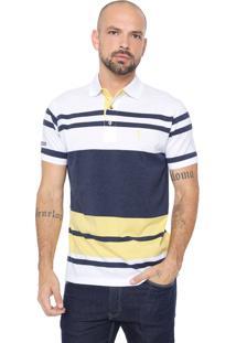 Camisa Polo Aleatory Reta Listrada Branca/Azul