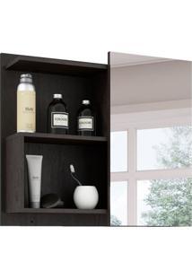 Armário De Banheiro Lis Com Espelho 1 Pt Café 60 Cm