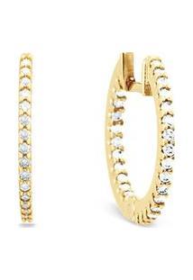 Argola Ouro Amarelo E Diamantes 16 Mm