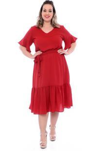 Vestido Babado Vermelho Plus Size