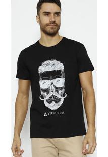 Camiseta Caveira - Preta & Brancavip Reserva