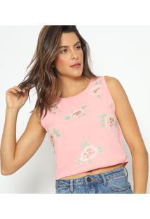 Blusa Com Bordado & Paetãªs- Rosa & Verde- Fashion 50Fashion 500