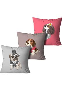 Kit 3 Capas Para Almofadas Decorativas Dogs Fofos
