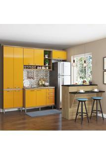 Cozinha Compacta 11 Portas 3 Gavetas Sem Tampo Com Bancada 5845 Amarelo/Argila - Multimóveis