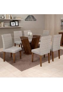 Conjunto De Mesa De Jantar Com 6 Cadeiras Classic Suede Chocolate E Cinza