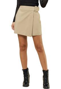 Short Mx Fashion Saia Com Fivela Cristine Caqui