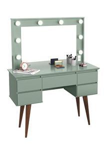 Penteadeira Com Espelho 5 Gavetas Pés Palito Camarim Strass Verde Bell