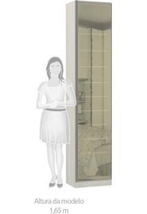 Sapateira Modulado 1 Porta Emoldurada Com Espelho Reflecta 9 Prateleiras 50Cm Prime Plus Luciane Móveis Legno Crema