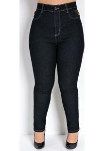 Calça Jeans Escura Cigarrete Sawary Plus Size